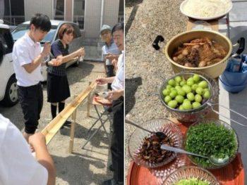 社内流しソーメン昼食会(笑) 2020.10.1